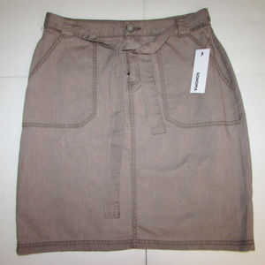 NEW-Women's Sonoma Belted Brown Skirt 6 or 8